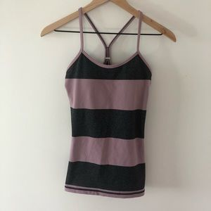 Lululemon lavender & gray striped power y tank 6